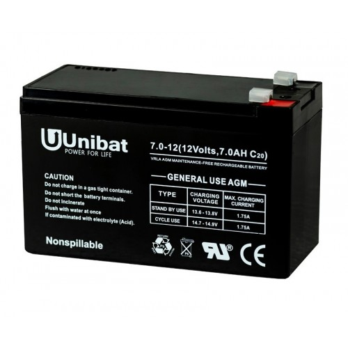 ΜΠΑΤΑΡΙΑ (VRLA) UNIBATPOWER FOR LIFE 12V 7.0AH