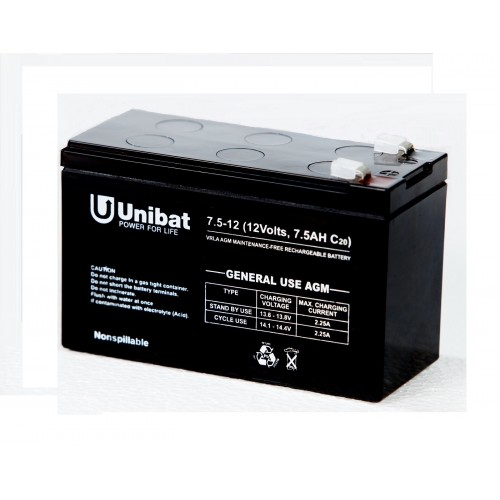 ΜΠΑΤΑΡΙΑ (VRLA) UNIBATPOWER FOR LIFE 12V 7.5AH